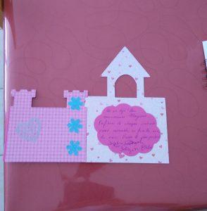 carte anniversaire 1 an rose château de princesse
