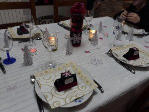table de noel rose blanc