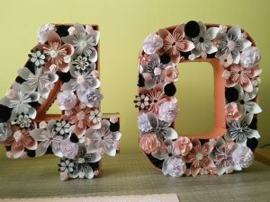 chiffre 40 rempli de fleurs