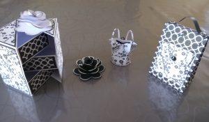 petites décos en papier à offrir, corset, boîtes à bijoux, sac à dos