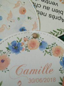 carte pour annoncer la naissance de camille sur le thème tropical