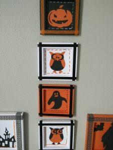 4 mini cadres réalisés pour Halloween