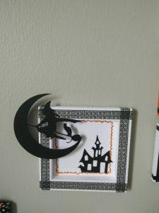 cadre blanc masking tape noir sorcière château halloween