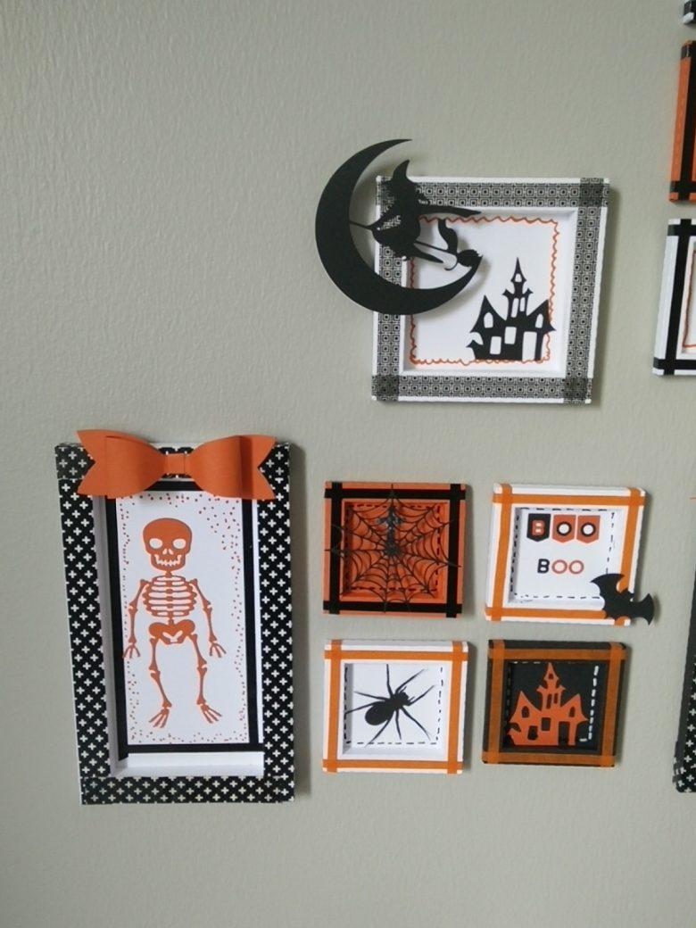 ensemble cadres Halloween , squelette, araignées, château...