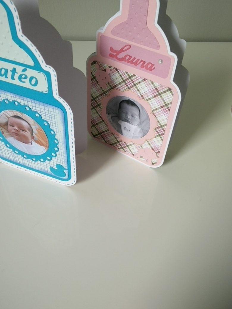 cartes de naissance en forme de biberon