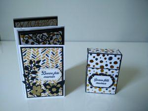boîte et carte dans les tons doré et noir pour la fête des mamans