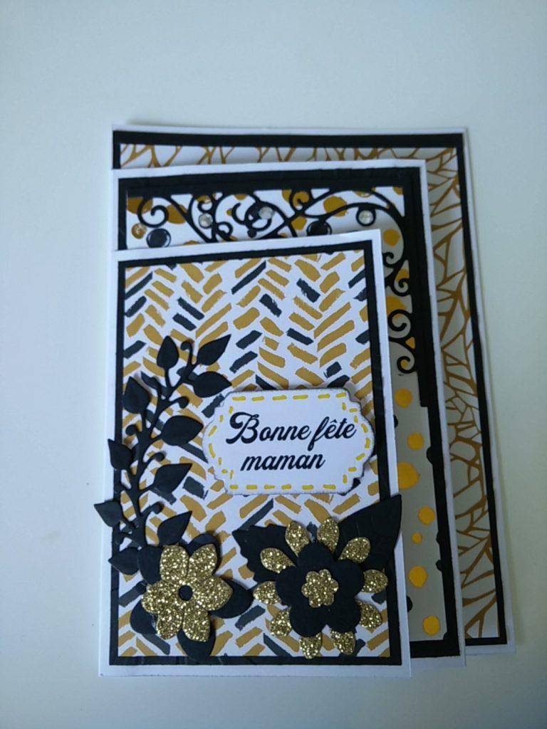réalisation du carte à quatre plis à l'occasion de la fête des mères en coloris doré et noir