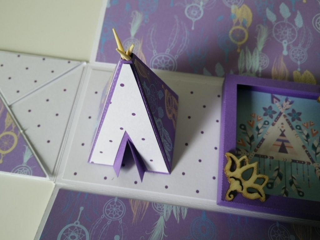 boîte explosion rectangle violette boho style
